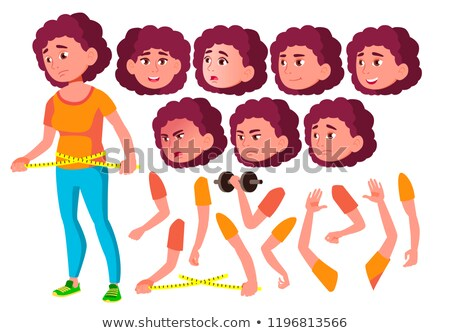 Fat Teen Girl Vector. Teenager. Caucasian, Positive. Face Emotions, Various Gestures. Animation Crea Stock photo © pikepicture