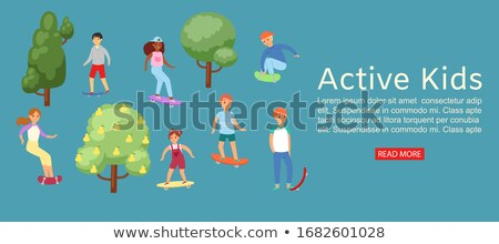 Cheerful Teen Skating in Summer Park Vector Banner Stock photo © robuart