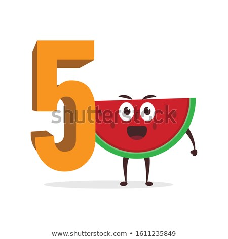 a boy holding number five stock photo © bluering