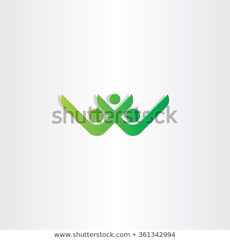 letter w and v healthy people green vector icon stock photo © blaskorizov