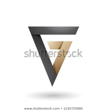 Czarny beżowy fałdowy trójkąt litera g wektora Zdjęcia stock © cidepix
