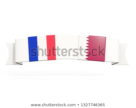 Banner with two square flags of France and qatar Stock photo © MikhailMishchenko