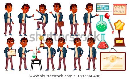 erkek · öğrenci · çocuk · ayarlamak · vektör · Hint - stok fotoğraf © pikepicture