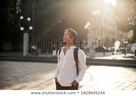 взрослый человека пеший турист улице город счастливым Сток-фото © zurijeta