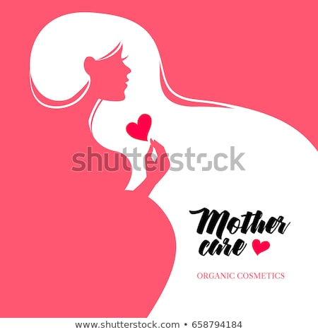 happy mothers day card of pregnant woman stock photo © cienpies