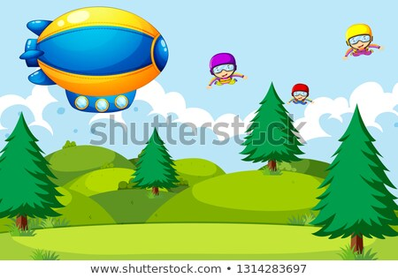 People skyding in nature Stock photo © colematt