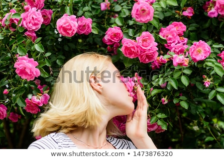 Beautiful cute tender young blonde girl in the rose garden in flowering trees in the gentle fabulous Stock photo © ElenaBatkova