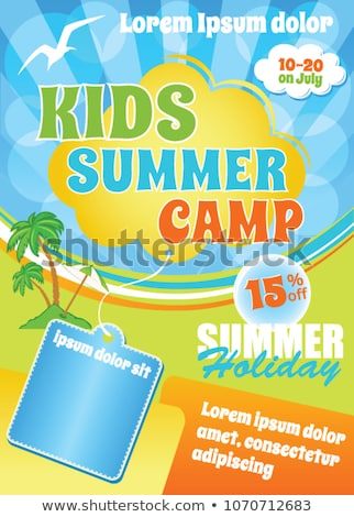 summer camp poster design in yellow color Stock photo © SArts