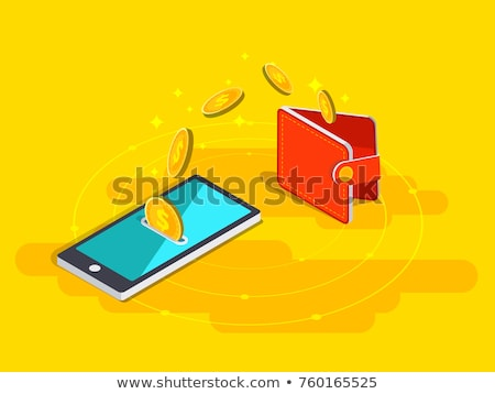 Payment by phone online concept, smartphone with money, coins and check Stock photo © MarySan