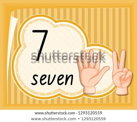 Aantal zeven sjabloon illustratie hand Stockfoto © colematt