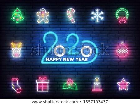 Christmas Candle Wreath Neon Sign  Stock photo © patrimonio