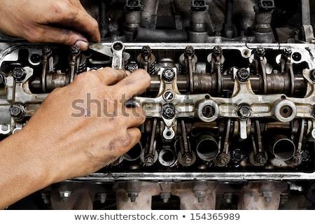 Car engine repairing, old oil filters Stock photo © simazoran