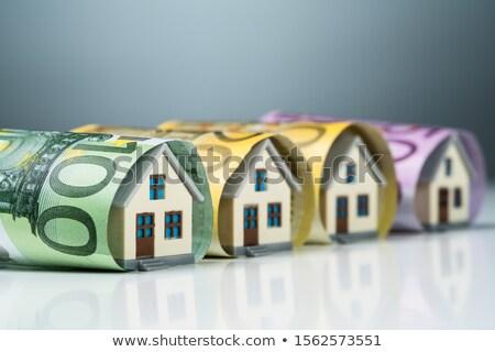 Miniature Houses Inside The Euro Banknotes On White Desk Stock photo © AndreyPopov