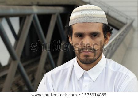 Komoly közel-keleti férfi mutat kéz arc Stock fotó © nomadsoul1