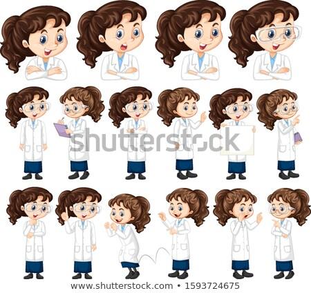 Kız bilim cüppe farklı kâğıt gülümseme Stok fotoğraf © bluering