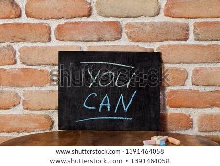Wyrażenie puszka strony drewniany stół Zdjęcia stock © marylooo