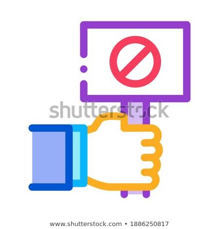 Zászló felirat tiltakozás ikon vektor skicc Stock fotó © pikepicture