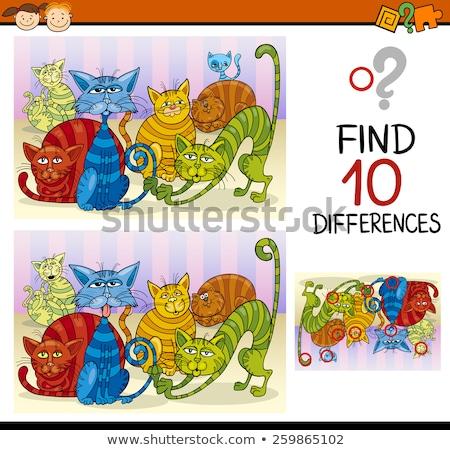различия образовательный задача Cartoon кошек группа Сток-фото © izakowski