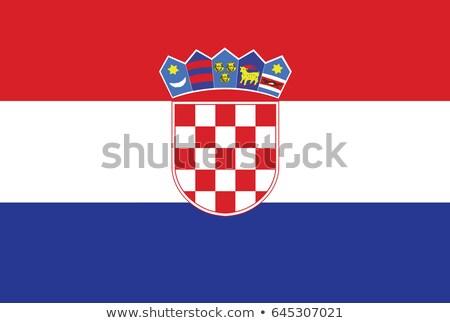 Horvátország zászló fehér szív felirat szövet Stock fotó © butenkow