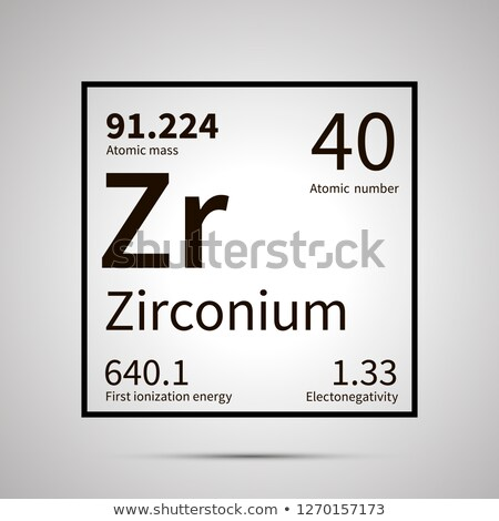 Zirconium chemical element with first ionization energy, atomic mass and electronegativity values ,s Stock photo © evgeny89