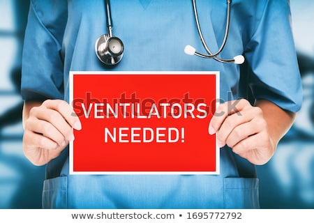 COVID-19 Ventilators needed urgency. Medical doctor or nurse showing sign asking for help holding re Stock photo © Maridav