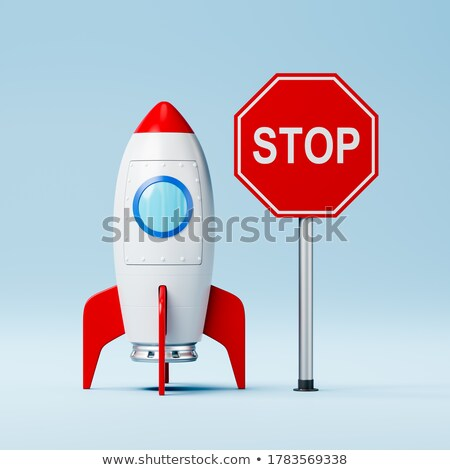 Cartoon Spaceship and Red Stop Road Sign on Blue Background Stock photo © make