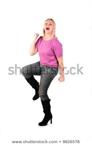 boldog · középkorú · nő · rózsaszín · póló · tánc - stock fotó © Paha_L
