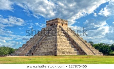 Foto stock: Antigo · pirâmide · ilustração · papagaio · palma · viajar