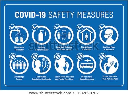 kötelező · felirat · fej · védelem · építkezés · kék - stock fotó © ecelop