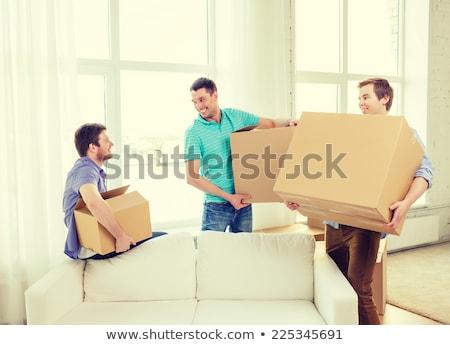 友達 · 移動 · 新しい · オレンジ · 女の子 · 家具 - ストックフォト © photography33