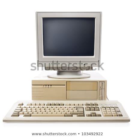 Klasszikus asztali számítógép izolált fehér közelkép lövés Stock fotó © ozaiachin