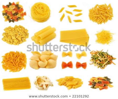 italian pasta spaghetti penne rigate tricolore and farfalle stock photo © zhekos