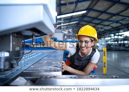 Operário de fábrica máquina trabalhar azul fábrica tela Foto stock © photography33