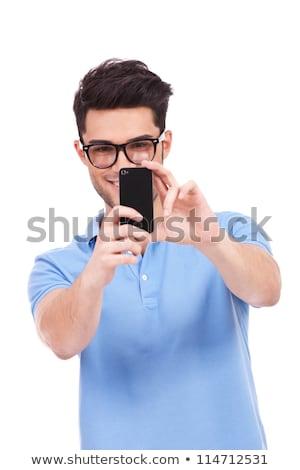 Stock fotó: Portré · férfi · elvesz · kép · mobiltelefon · üzlet