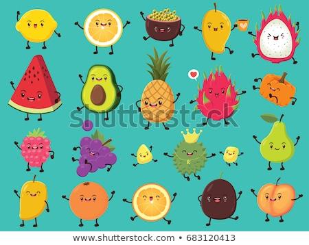 улыбаясь · зеленый · груши · фрукты · лист · мультфильм · талисман - Сток-фото © pcanzo