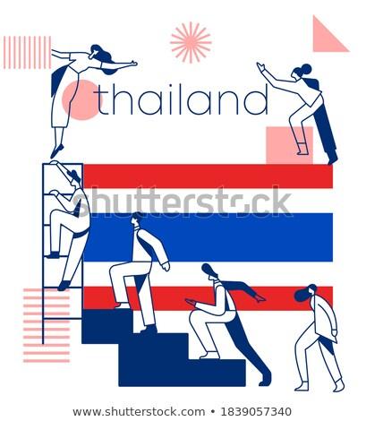 Tajlandia kraju banderą geometryczny wektora działalności Zdjęcia stock © gubh83