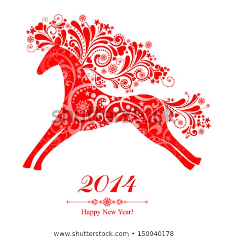 chinese new year of horse 2014 postcard stock photo © cienpies