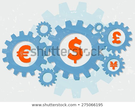 Euro Dollar Pound And Yen Signs In Grunge Flat Design Gears Foto stock © marinini