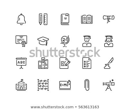 Okul eğitim simgeler ikon öğle yemeği vektör Stok fotoğraf © HelenStock