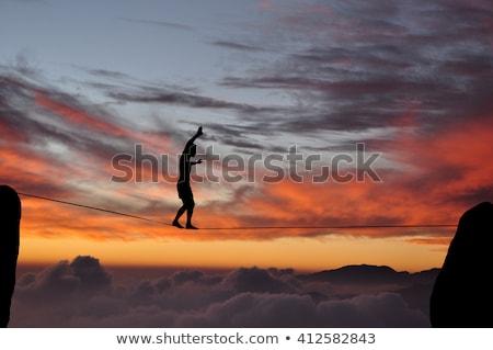 синий · гор · холмы · закат · красивой · оранжевый - Сток-фото © vapi