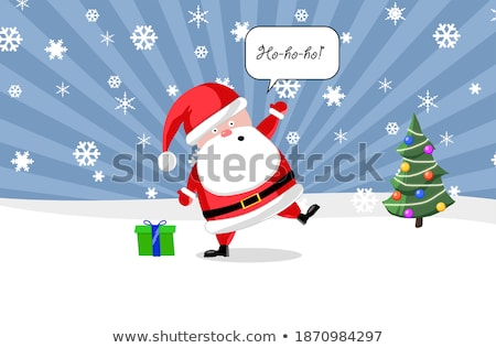 Santa ouside with a present and Christmas tree Stock photo © shutswis