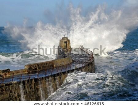Portreath pier big white water wave splash Stock photo © latent