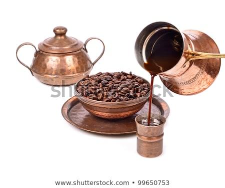 Foto stock: Caneca · de · café · metal · bandeja · velho · cronômetro · carros