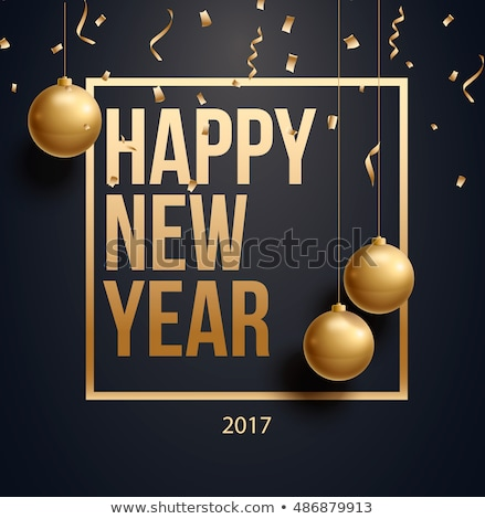 happy new year 2017 greeting design on black background with sno Stock photo © SArts