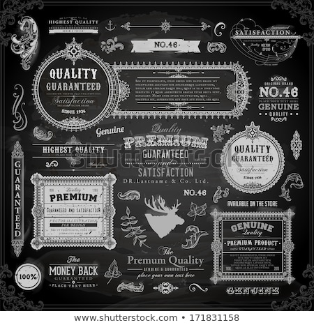 Calligraphic design elements in vintage style on a chalkboard background - vector set Stock photo © blue-pen
