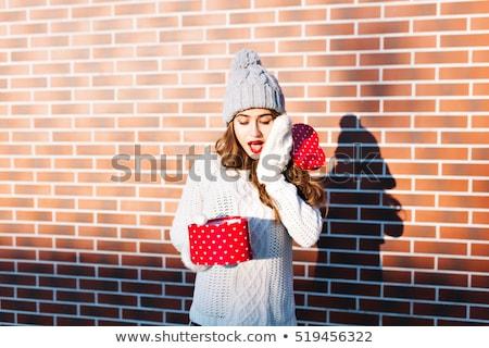 Lány 14 néz karácsony ajándék gyermek Stock fotó © IS2