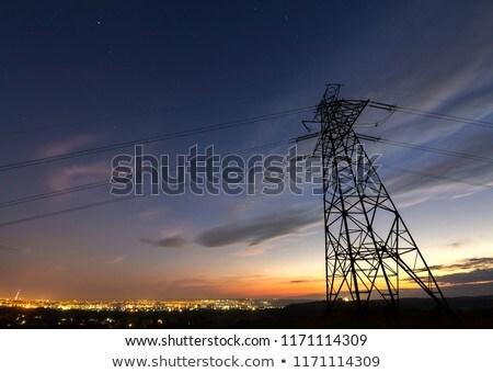 Elektrycznej noc charakter moc drutu nikt Zdjęcia stock © IS2