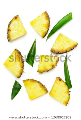 Stock photo: raw unpeeled pineapple laying on white background