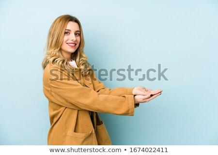Stockfoto: Mooie · jonge · blond · meisje · Blauw · kleding