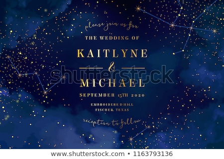 Golden stars glitter scattered on black in celebration card stock photo © SwillSkill